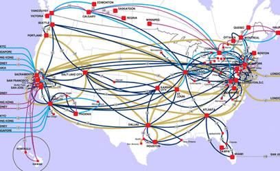 Data Center Network - Us backbone map
